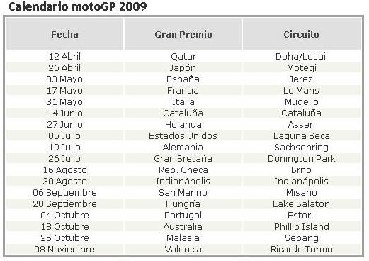 Moto Gp Calendario.Calendario Oficial Moto Gp Excalibur